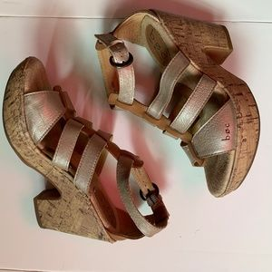 BOC Leather Strappy Sandal Cork Wedge 8